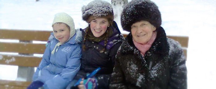 Casey Connolly December 2013 Outstanding Foreign Language Student with her host family in Russia