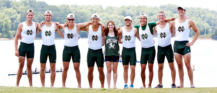 Casey as a coxswain with ND rowing team