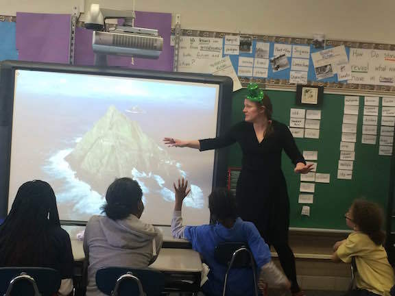 Dr. Devitt speaks to fourth graders at Perley Elementary Fine Arts Academy in South Bend