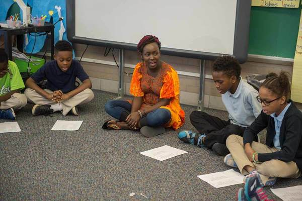 Kenyan Flta Laureen Owaga Helps A 4th Grade Class Learn A Song In Swahili