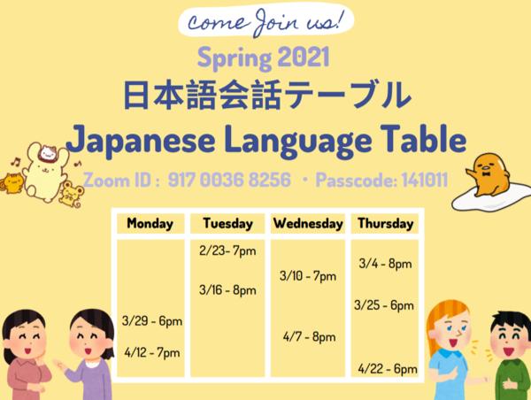 Japanese Language Tables Spring 2021
